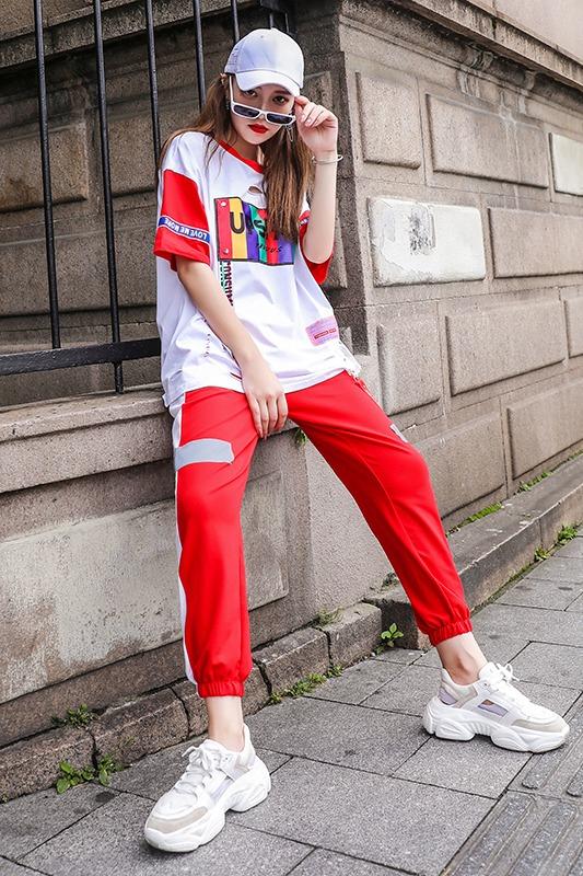 365#实拍休闲运动套装2019夏季新款韩版宽松学生洋气bf夏装网红两