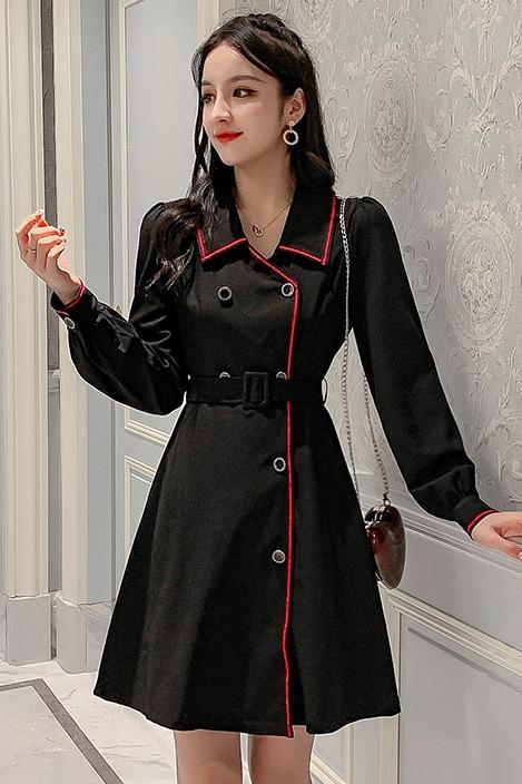 6021实拍2019秋冬装新款女士双排扣修身气质腰带网红时尚连衣裙
