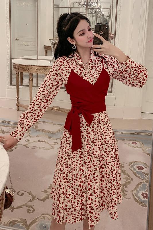 6045实拍2019新款秋冬装女士搭配款两件套显瘦网红印花时尚连衣裙