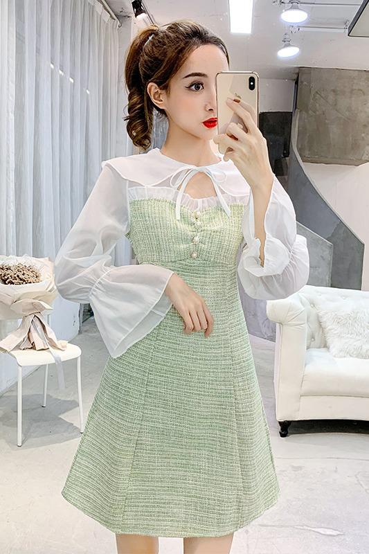 法式少女裙秋冬新款抖音同款拼接雪纺假两件套喇叭袖小香风连衣裙