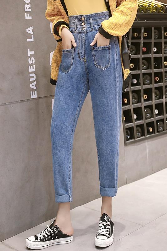实拍实价高腰九分牛仔裤女秋装新款裤子韩版宽松显瘦哈伦裤直筒