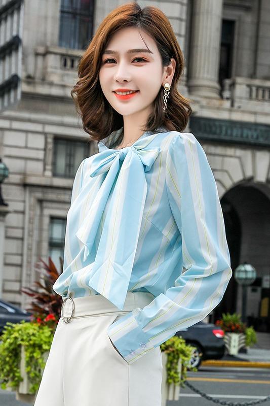 女2019秋季新款时尚百搭系带蝴蝶结长袖设计感小众衬衣