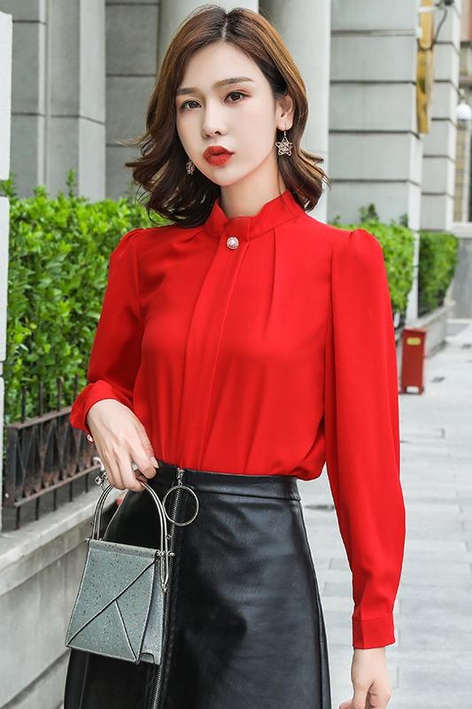 2019秋季新款百搭时尚雪纺衫女长袖打底衫修身韩版设计感小众衬衫