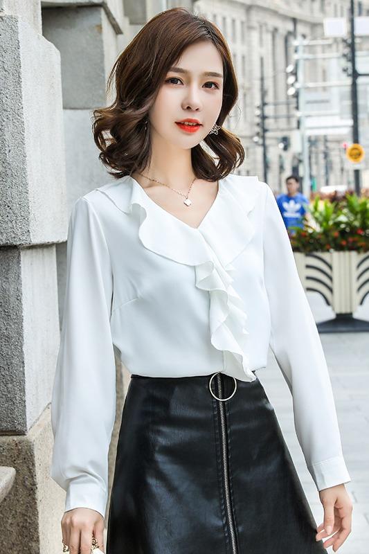 长袖雪纺衫女2019秋季设计感小众新款时尚荷叶边百搭韩版衬衫