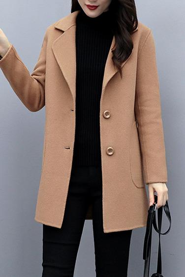 现货实拍#毛呢外套女中长款2019秋冬新款修身显瘦气质呢子大衣女