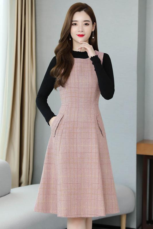 毛呢连衣裙套装女秋装2019年新款收腰显瘦气质长款背带裙子两件套