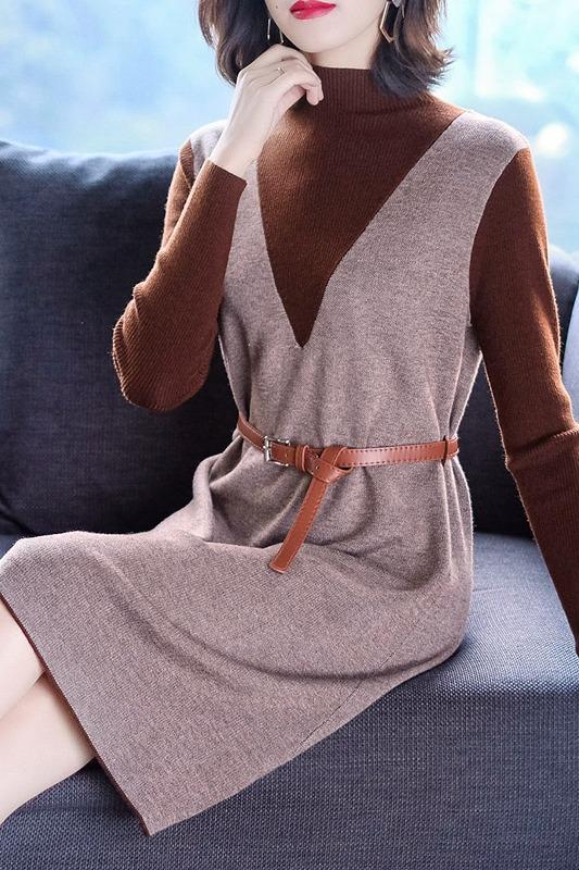 针织连衣裙长袖秋装2019年新款气质女装中长款修身初秋季打底裙子