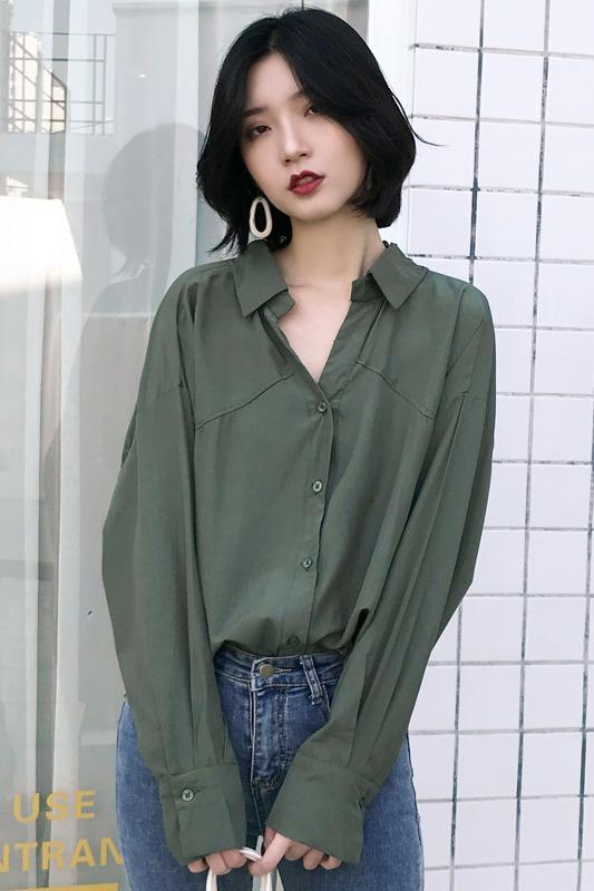实拍衬衫女秋季2019新款韩版宽松衬衣轻熟设计感小众港风衬衫女