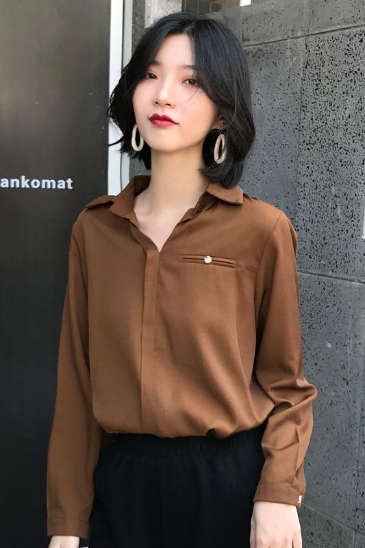 实拍2019秋季新款宽松韩版复古港味衬衣上衣设计感小众衬衫女
