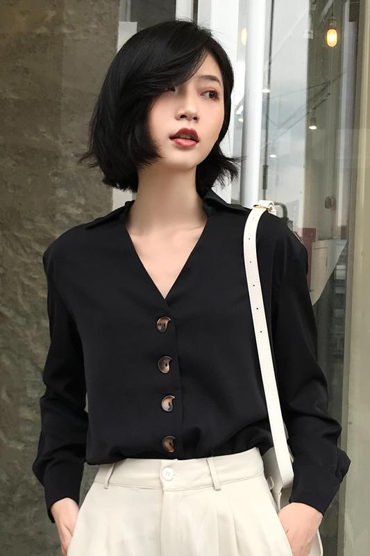 实拍 2019秋季新款设计感小众长袖宽松韩版雪纺衬衣女港风衬衫女