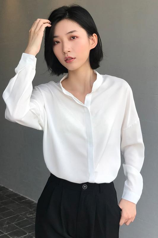 实拍 衬衫女心机设计感小众绸缎气质黑色暗门襟慵懒风宽松