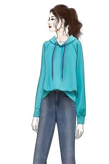 实拍秋装韩版女装上衣长袖慵懒风宽松连帽卫衣紧身牛仔裤显瘦套装