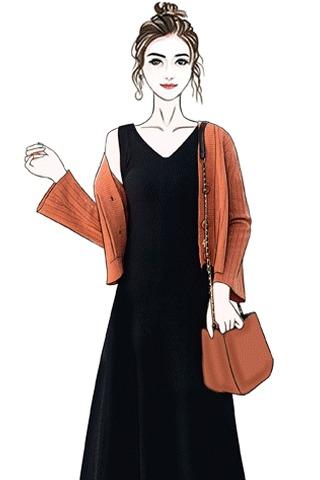 实拍网红套装女2019新款初早秋时尚气质显瘦洋气两件套开衫+裙子
