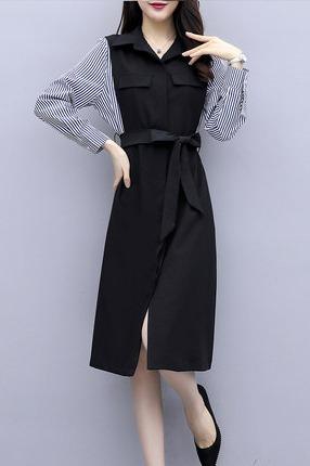 衬衫连衣裙流行女装2019年初秋装新款气质收腰显瘦早秋季长袖裙子