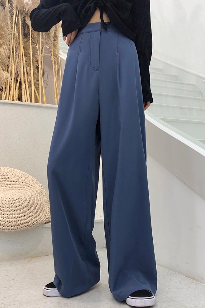 实拍现货秋季2019新款百搭裤子高腰明线垂感直筒阔腿裤休闲西装裤