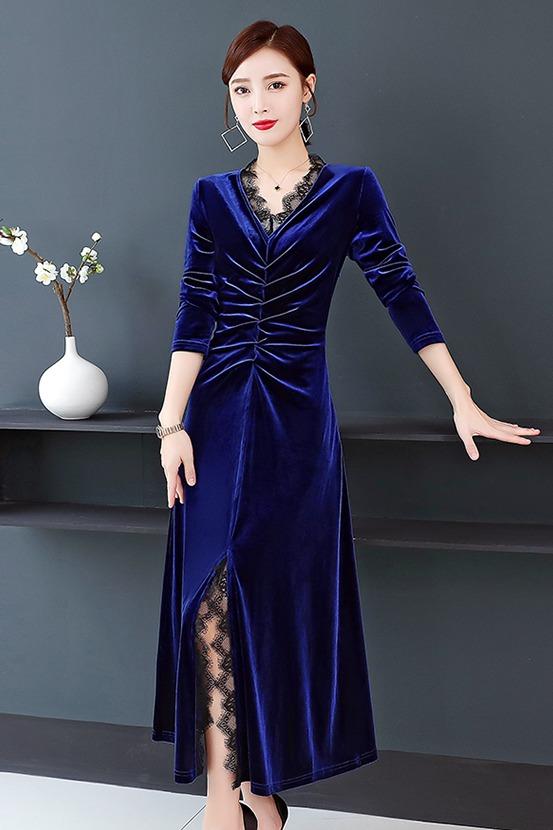 实拍2019秋季新款女装高端气质丝绒拼蕾丝领收腰长袖连衣裙