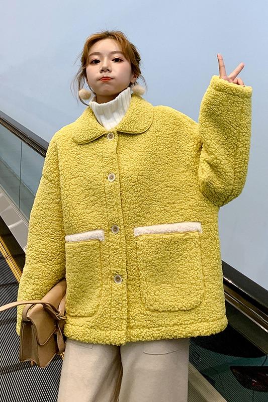 羊羔毛外套女秋冬2019新款韩版宽松短款加厚皮毛一体鹿皮绒羊羔绒