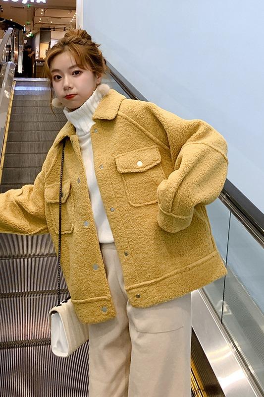实拍2019秋冬季新款女外套仿羊羔绒短款厚外套宽松学院风韩版百搭