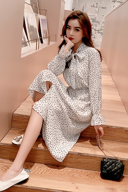 【实拍】7202#单排扣中长款碎花系带连衣裙显瘦开叉裙,后补花色