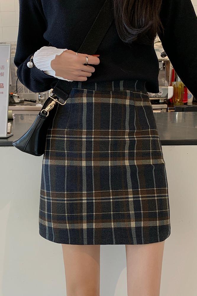 实拍现货 半身裙复古百搭好质感毛呢格纹显瘦高腰半身裙短a字裙女