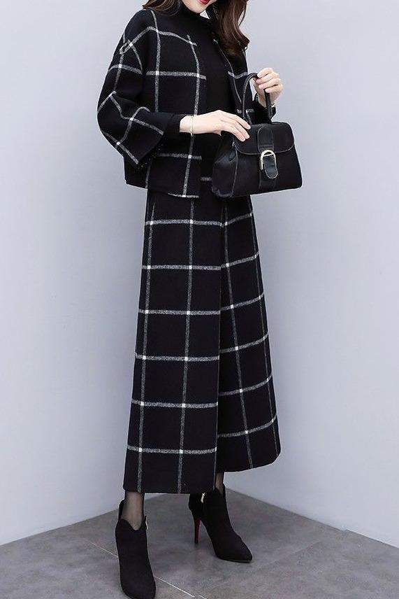 2019新款秋冬韩版两件套裤格子卫呢短外套阔腿裤休闲时尚套装女潮
