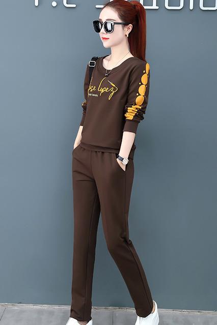 女士纯套装女春秋季2019新款韩版时尚大码休闲运动服卫衣两件套