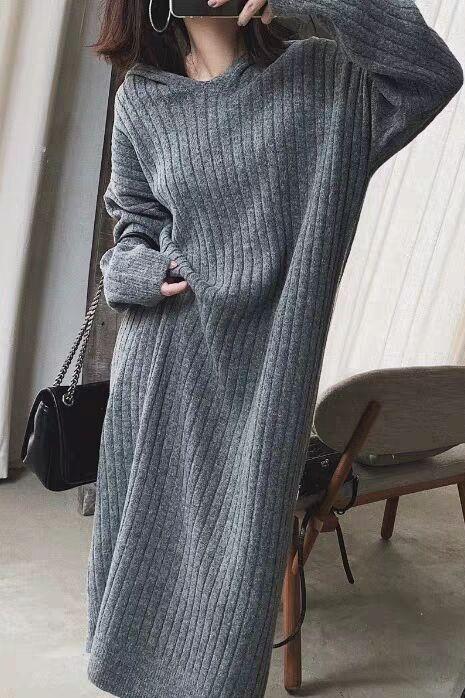 2019秋冬装新款网红宽松洋气毛衣裙女慵懒针织套头长款加厚连衣裙