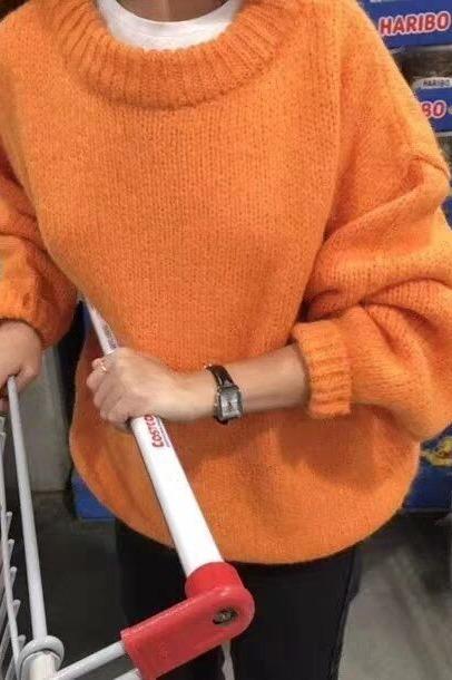 超火慵懒风橘色套头毛衣女2019秋冬新款韩版加厚网红宽松针织衫