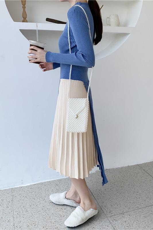 实拍2019新款韩版独特设计撞色拼接针织气质连衣裙女