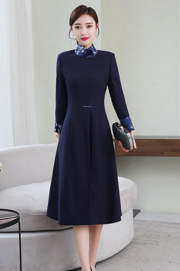 实拍 秋冬新款改良旗袍 加厚呢子拼接连衣裙