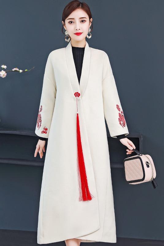 实拍汉服女中国风毛呢外套中式改良唐装禅意茶人服中长款呢子大衣