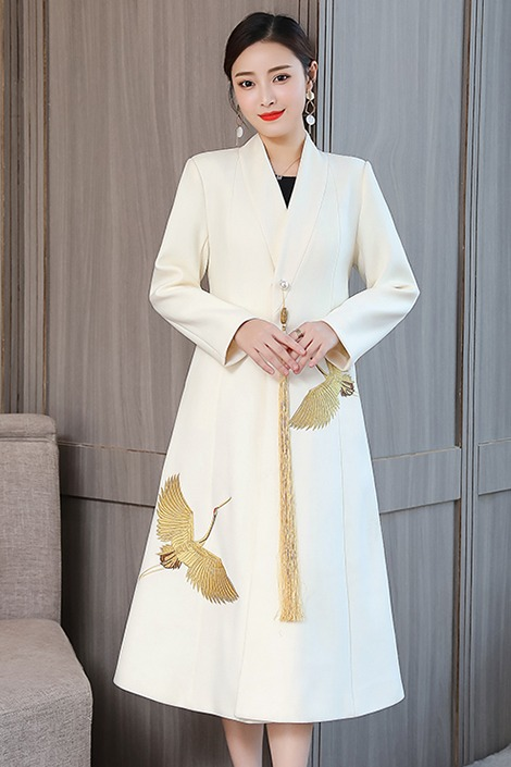 实拍19秋冬中式国风仙鹤刺绣羊毛长款过膝毛呢大衣呢子外套女