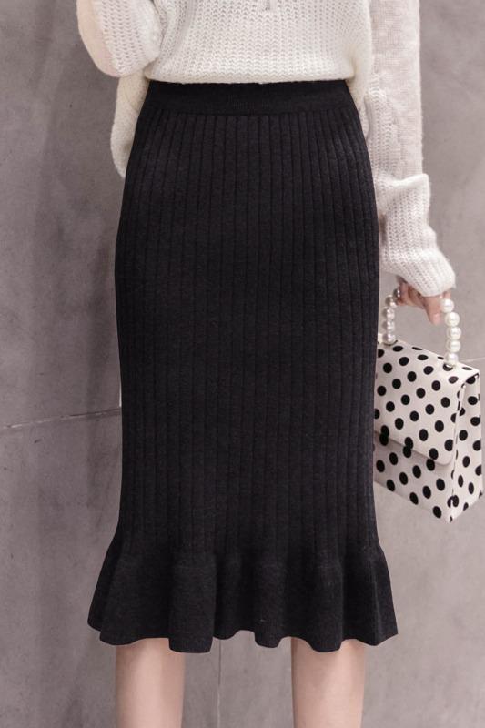 加厚实拍秋冬中长款鱼尾裙毛线H型针织包臀松紧裤腰半身裙