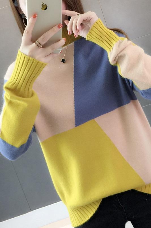 毛衣女宽松2019秋装女装新款上衣网红韩版慵懒长袖套头打底针织衫