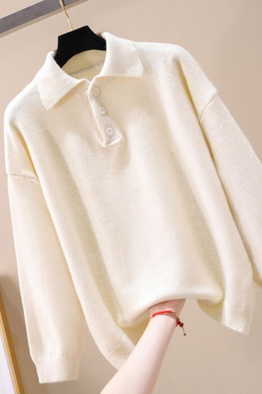 实拍现货754#  软妹韩版学院风秋冬宽松POLO领套头毛衣女