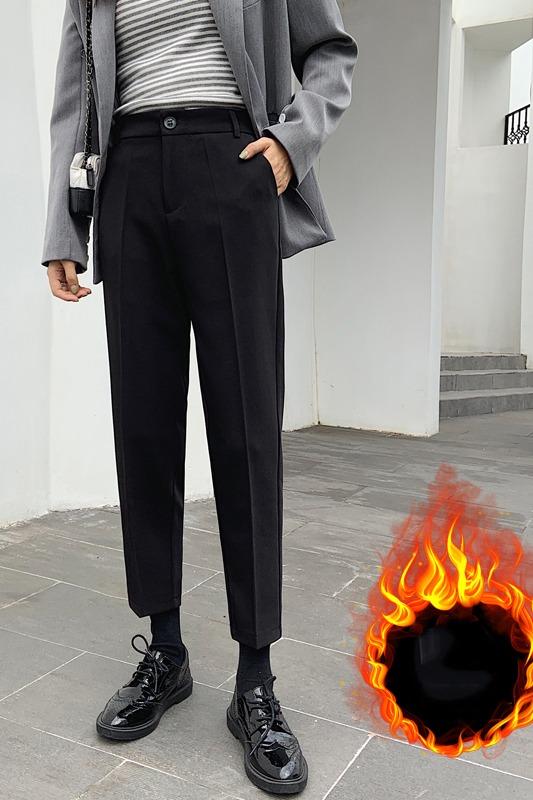 实拍 西装裤女秋季新款显瘦烟管裤黑色九分裤