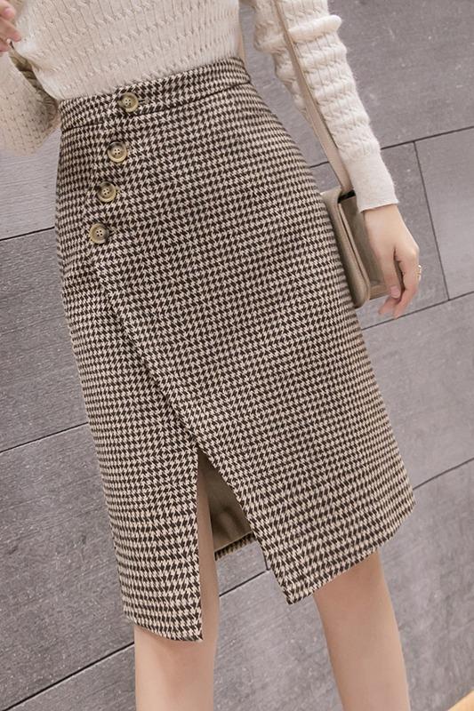9217#(实拍)高腰百搭开叉格子包臀裙中长款气质一步裙子半身裙