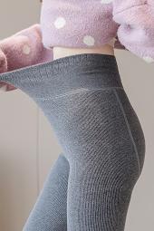 6020#实拍大码女装秋冬新款加绒加厚竖条纹仿羊绒一体裤加肥加大