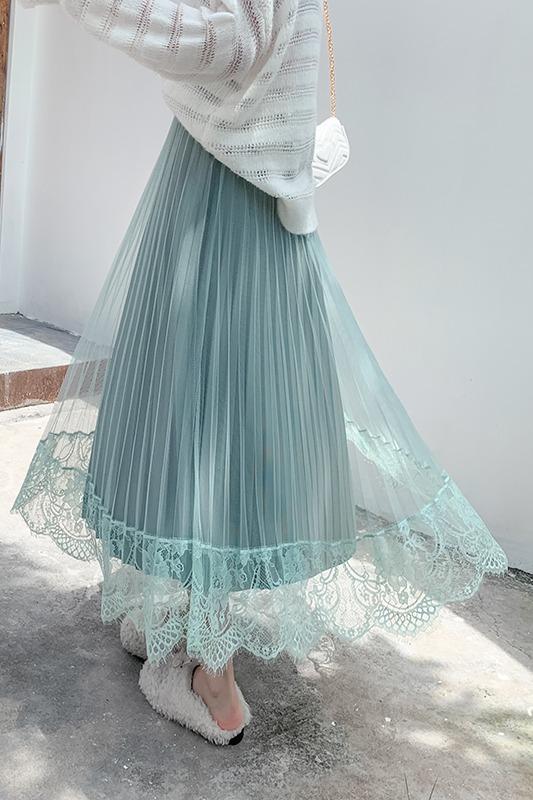 实拍两面穿半身裙秋冬新款金丝绒闪星光百褶裙l网纱蕾丝边大摆裙