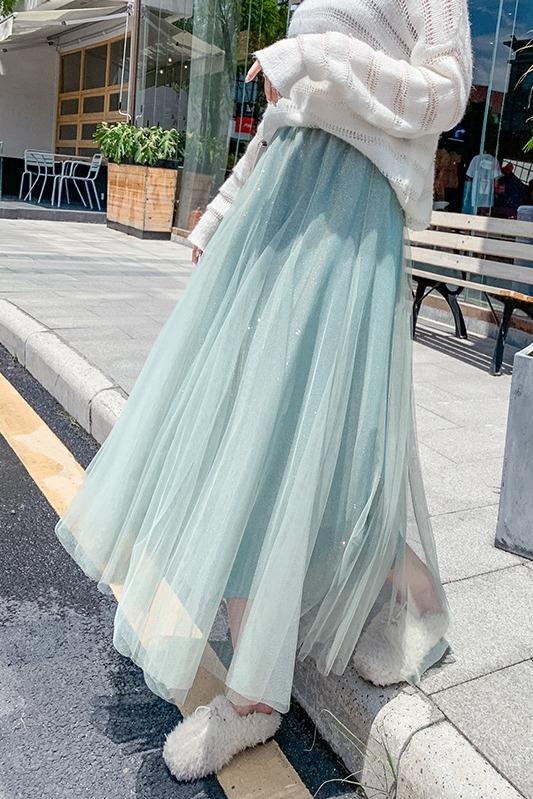 实拍秋冬新款网纱多片拼接半身裙闪闪星光新潮流大摆蓬蓬纱仙女裙