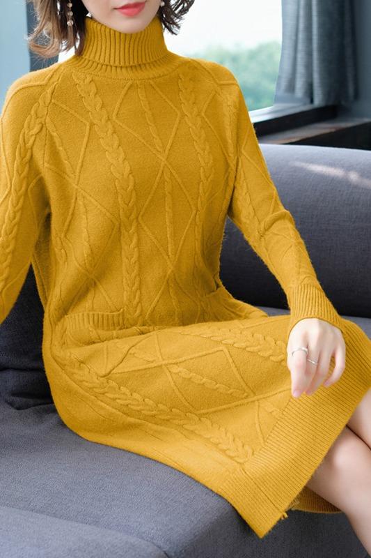 加绒加厚长款毛衣女长裙新款高领套头宽松过膝秋冬季针织衫连衣裙