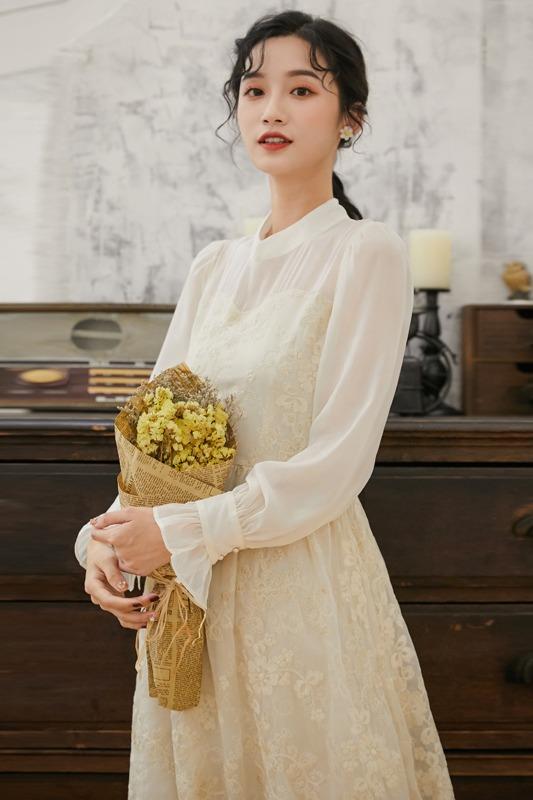 6086#实拍 《相思三》复古绣花改良旗袍 中长款连衣裙19新款