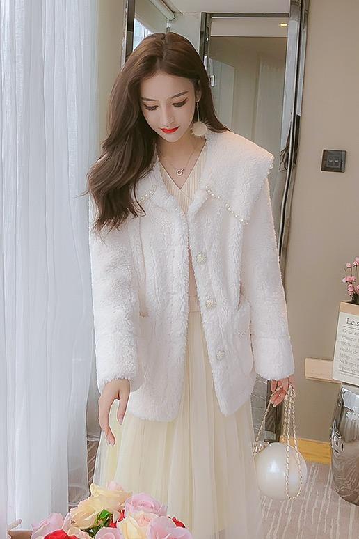现货 冬季新款仿羊羔绒钉珠毛呢外套女甜美气质休闲淑女百搭大衣