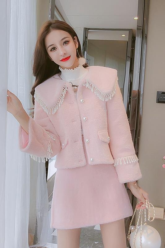 现货实拍小香风重工珍珠大娃娃领水貂绒短外套+半身裙两件套套装