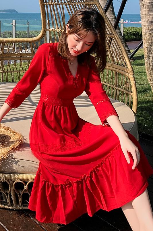 实拍三亚沙滩裙女海边度假波西米亚长裙显瘦旅游红色连衣裙超仙