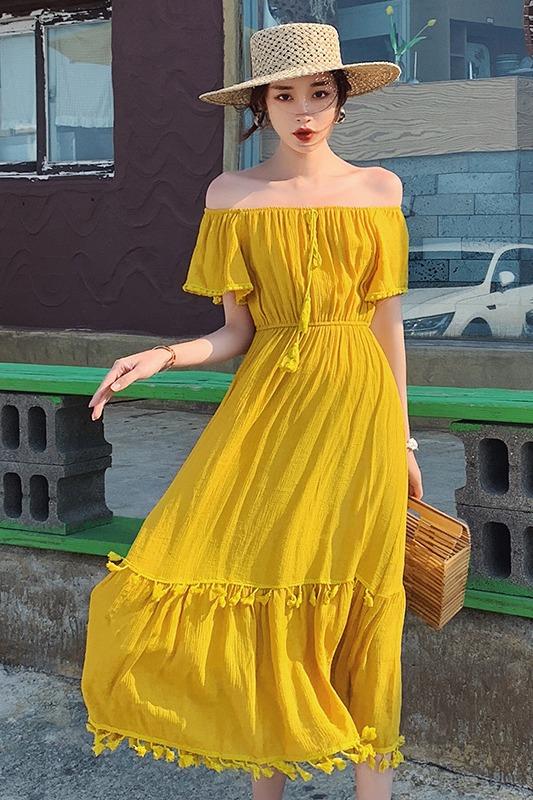 实拍+3标新款度假风露肩一字领流苏边黄色大裙摆巴厘岛沙滩连衣裙
