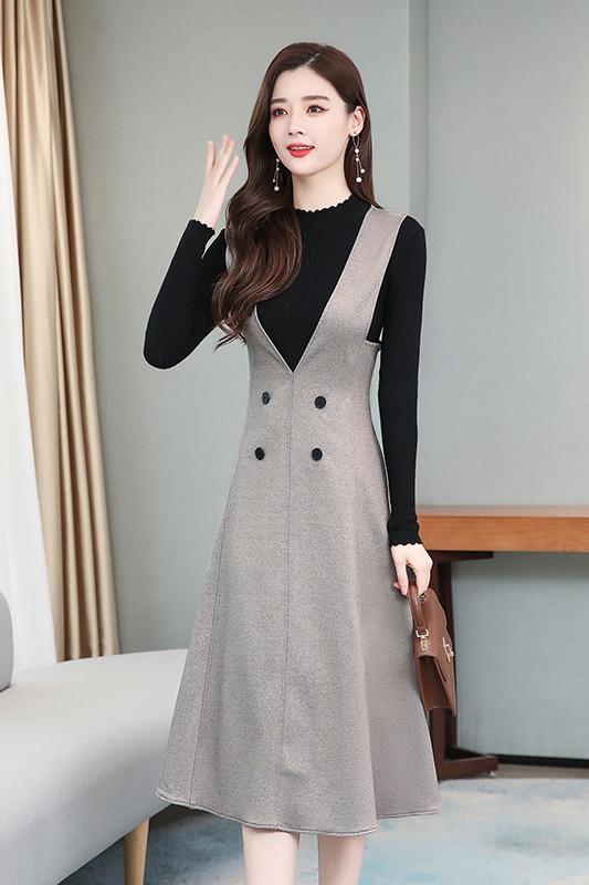 实拍裙子套装气质穿搭轻熟两件套裙装显瘦背带裙贵夫人连衣裙洋气