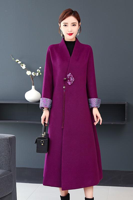 实拍2019秋冬原创中国风女装复古中式改良汉服外披毛呢大衣外套女