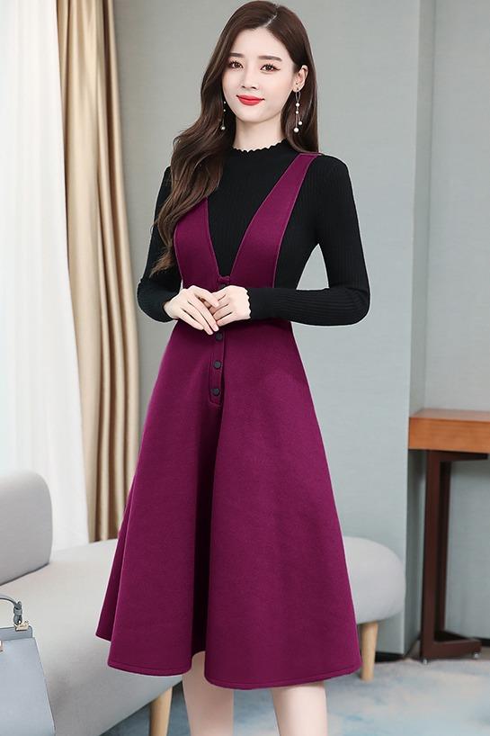 实拍2019年新款潮连衣裙子冬款大码女装两件套装网红洋气减龄背带