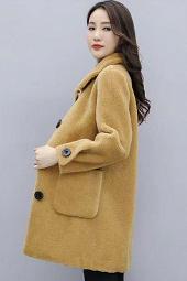 实拍现货##羊剪绒大衣女中长款2019冬季新款皮毛一体仿皮草外套